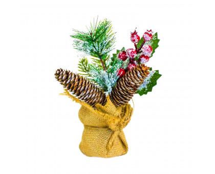 Декоративный новогодний букет, 22х15см
