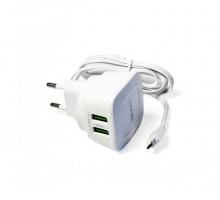 "Сетевое  зарядное устройство ""LDNIO"" с двумя USB выходами, 5V/2х2400мА"