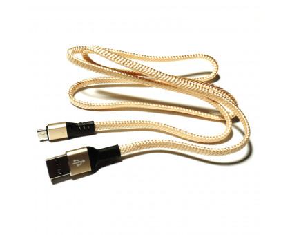 Плоский кабель Micro USB/USB 2.0 в оплетке, 90см