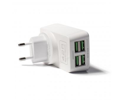 Сетевое  зарядное устройство с четырьмя USB выходами, 5V/4х4200мА