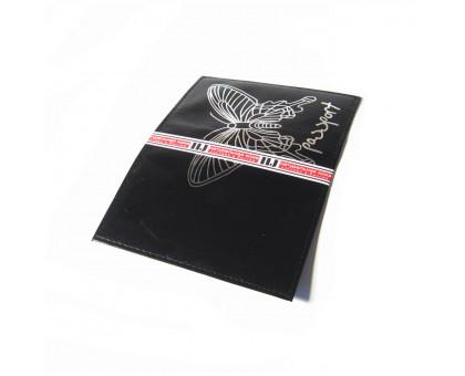 Обложка на паспорт с изображением бабочки. Натуральная кожа