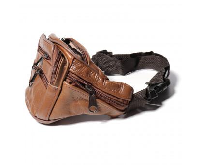 Мужская поясная сумка из натуральной кожи, обхват 100см.
