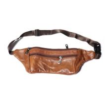 Мужская поясная сумка из натуральной кожи, обхват 120см.