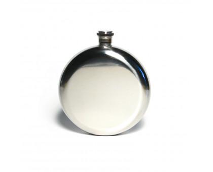 Плоская круглая фляжка №8 в кожаном чехле, 232мл
