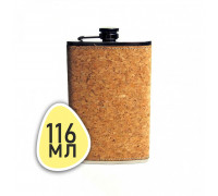 """Плоская фляжка №4 с поверхностью """"пробка"""", 116 мл"""