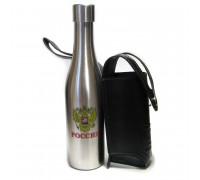 Фляжка-бутылка в кожаном чехле, 0,27л