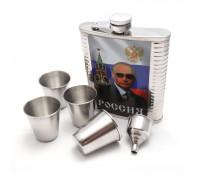 """Набор """"Президент"""" - фляжка (522мл), металлические стаканы, воронка"""