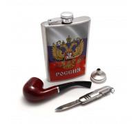 """Набор """"Россия"""" - фляжка (262мл), ножик, трубка и воронка"""