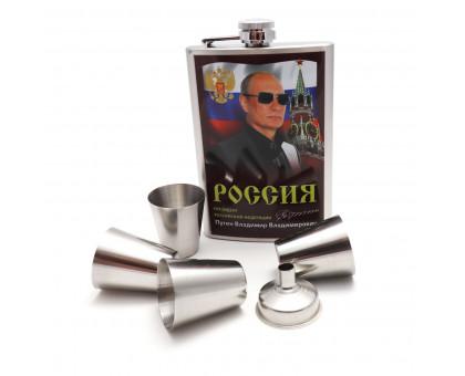 """Набор """"Россия"""" - фляжка (262мл), стаканы, воронка"""