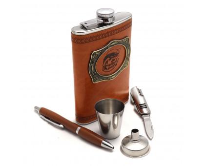"Набор ""За богатый улов!"" - фляжка (262мл), воронка, стакан, ручка и нож"