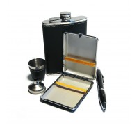 Набор с фляжкой (232мл), портсигаром, ручкой, стаканчиком и воронкой