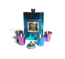 """Набор """"Титан"""" - фляжка (262мл), металлические стаканы, воронка"""
