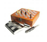 Шахматный набор с фляжкой (232 мл), металлическим стаканом и ножом