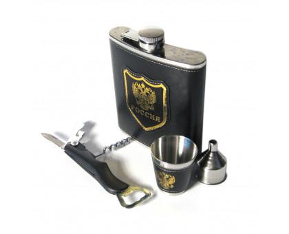 Подарочный набор с фляжкой (522мл), стакан, открывалка-штопор