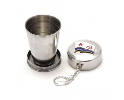 Экологичный складной металлический стакан с значком, 70мл