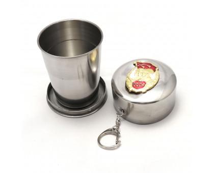 Экологичный складной металлический стакан с значком, 150мл