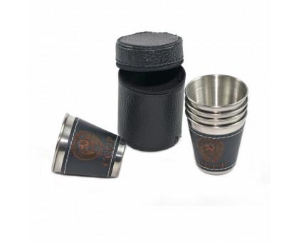 Набор металлических стаканов в коже, 4х30мл